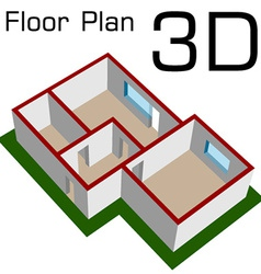 3D empty house floor plan vector