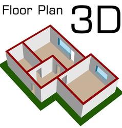 3d empty house floor plan vector