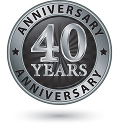 40 years anniversary silver label vector