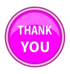 A pink icon with a white inscription Thank you vector image