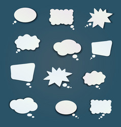 a set of flat comic bubbles vector image
