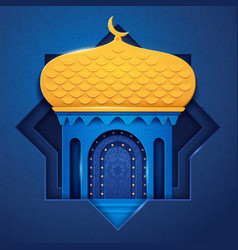 Arabic mosque made paper or islamic church vector