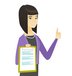 Asian business woman showing clipboard vector