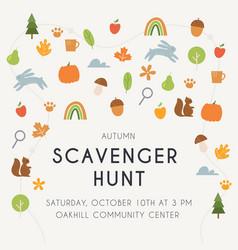 Autumn scavenger hunt game or woodland walk card vector