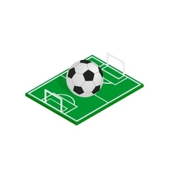Ball on the soccer field icon isometric 3d style vector image