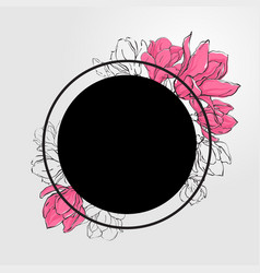 Banner template with black round vector