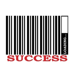 Barcode with successs text and loading bar vector