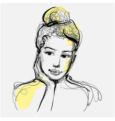 Beautiful woman face thinking hand drawn vector