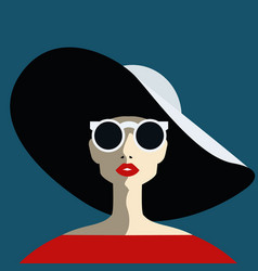beautiful young woman with sunglasses and hat vector image