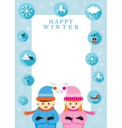 Boy and Girl in Winter Season Frame vector
