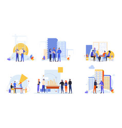 Builders and architects set concept vector