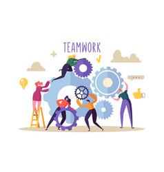 Business teamwork concept flat people characters vector