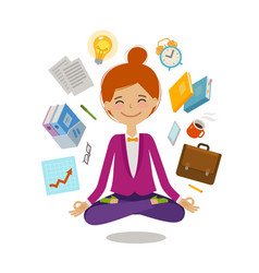 Businesswoman sitting in lotus pose business vector