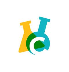 C letter lab laboratory glassware beaker logo icon vector