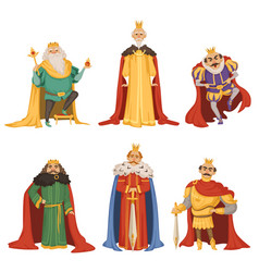 Cartoon characters of big king in different poses vector