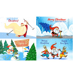 christmas banner set cartoon style vector image