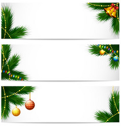 christmas banners with pine tree branch balls and vector image