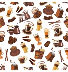 Coffee seamless pattern with beans cups mills vector image