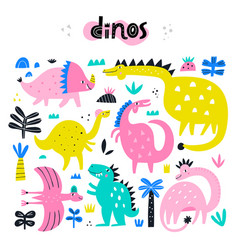 collection cute dinosaurs dino vector image