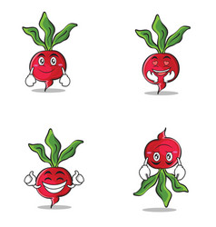 Collection of radish character cartoon style set vector