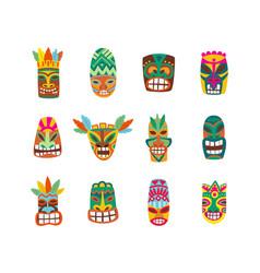 colorful tiki mask set isolated on white vector image