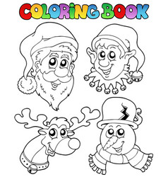 Coloring book christmas topic 1 vector