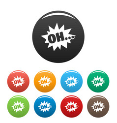 Comic boom oh icons set color vector