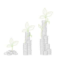 Concept of tree growing from money vector