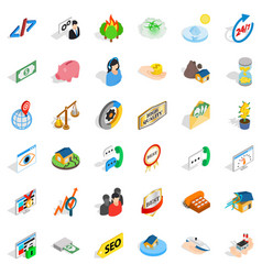 Consultation icons set isometric style vector
