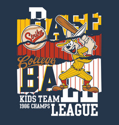 Cute cartoon rabbit college baseball league vector