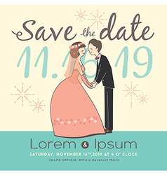 Cute groom and bride cartoon save the date vector