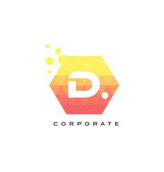 d orange hexagon shaped letter logo with bubbles vector image