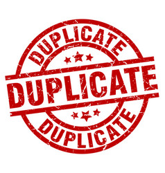 Duplicate round red grunge stamp vector