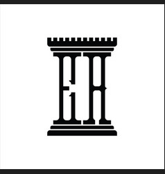 Ea logo monogram with pillar shape design template vector