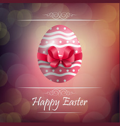 Easter egg background with red ribbon vector