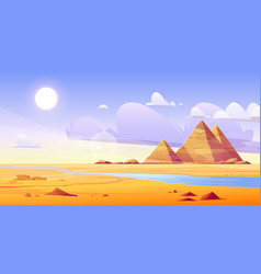Egyptian desert with river and ancient pyramids vector