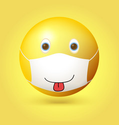 Emoji emoticon with medical mask on face smiling vector