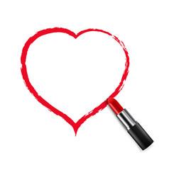 Female lips lipstick heart white background vector