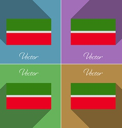 Flags Tatarstan Set of colors flat design and long vector image