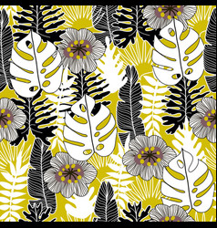 Floral and tropical seamless pattern vector
