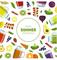 fresh summer smoothies banner template with vector image