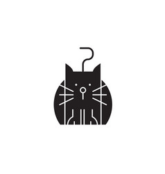 funny cat black concept icon funny cat vector image