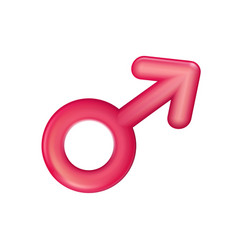gender male sign red icon plastic realistic men vector image