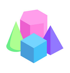 geometric figures exposition colorful 3d models vector image