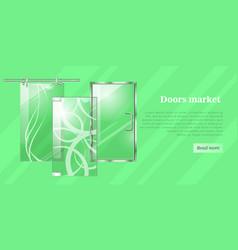 Glass doors conceptual flat web banner vector