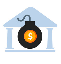 Government debt bomb danger risk of big high vector