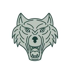 Gray wolf head mono line vector