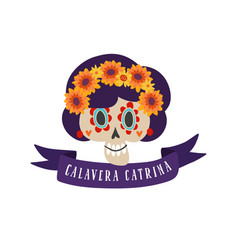 Halloween dia de los muertos greeting card vector