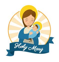 holy mary baby jesus catholic statue image vector image