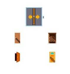 icon flat door set of entry door elevator and vector image